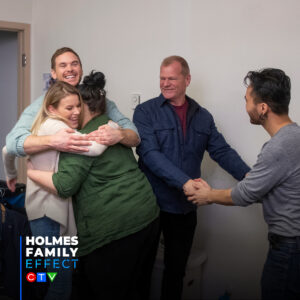 Mike Holmes, Mike Holmes Jr and Sherry Holmes surprise Working Gear's Sarah Beley